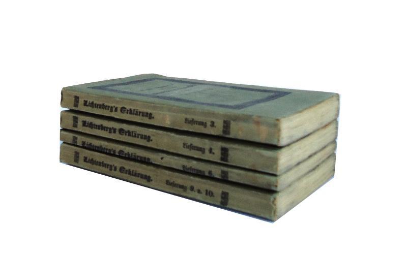 Ausführliche Erklärung der Hogarthischen Kupferstiche, mit verkleinerten Copien derselben von Carl Rahl. Bd. 3, 4, 6, 9 u. 10 (von 10). Gebunden in 4 Bänden.