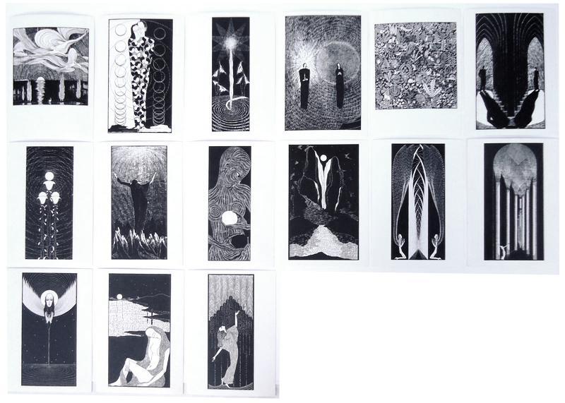 Konvolut aus 16 verschiedenen Künstlerkarten nach Holzschnitten von Gertrazd Reinberger.