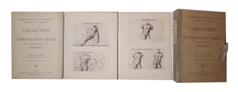 Collection de Chirurgiens Grecs, avec dessins attribués au Primatice. Reproduction réduite des 200 dessins du manuscrit latin 6866 de la Bibliotheque Nationale (Departement de manuscrits).