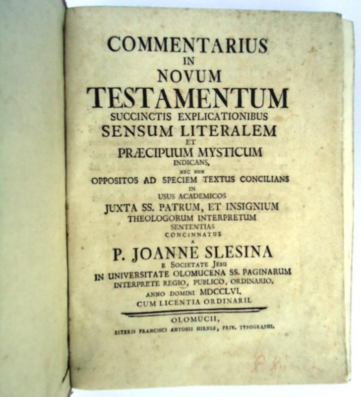 Commentarius in novum testamentum succinctis explicationibus sensum literalem et praecipuum mysticum indicans, nec non oppositos ad speciem textus concilians in usus academicos juxta SS. patrum, et insignium theologorum interpretum sententias concinnatus.