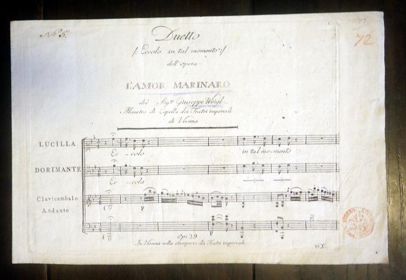L´Amor Marinaro del Sig.re Giuseppe Weigl, Maestro di Capella die Teatri imperiali di Vienna.