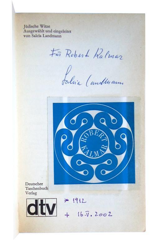 Widmungsexemplar + Brief + Porträtfoto - Jüdische Witze. Ausgewählt und eingeleitet von Salcia Landmann. 7 . Auflage.